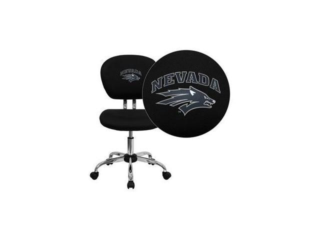 Flash Furniture Nevada Wolfpack Embroidered Black Mesh Task Chair with Chrome Base [H-2376-F-BK-40026-EMB-GG]