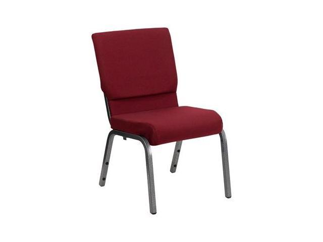 Flash Furniture HERCULES Series 18.5'' Wide Burgundy Stacking Church Chair with 4.25'' Thick Seat - Silver Vein Frame [XU-CH-60096-BY-SILV-GG]