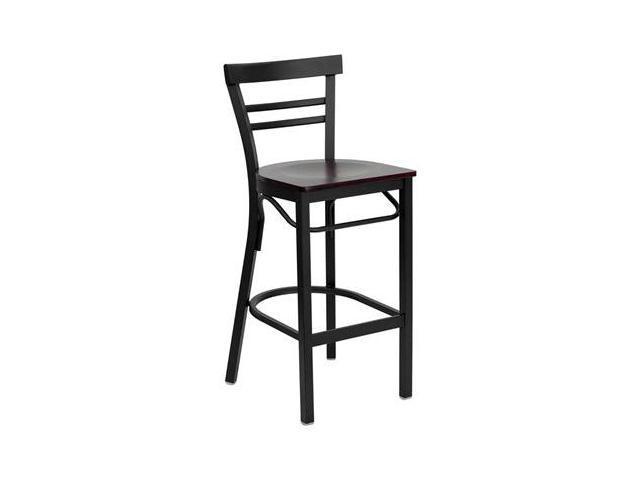 Flash Furniture HERCULES Series Black Ladder Back Metal Restaurant Bar Stool with Mahogany Wood Seat [XU-DG6R9BLAD-BAR-MAHW-GG]