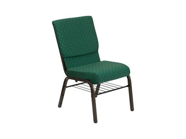 Flash Furniture HERCULES Series 18.5'' Wide Green Patterned Church Chair with 4.25'' Thick Seat Book Rack - Gold Vein Frame [XU-CH-60096-GN-BAS-GG]