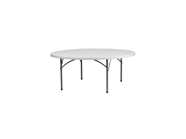 Flash Furniture 72'' Round Granite White Plastic Folding Table [RB-72R-GG]