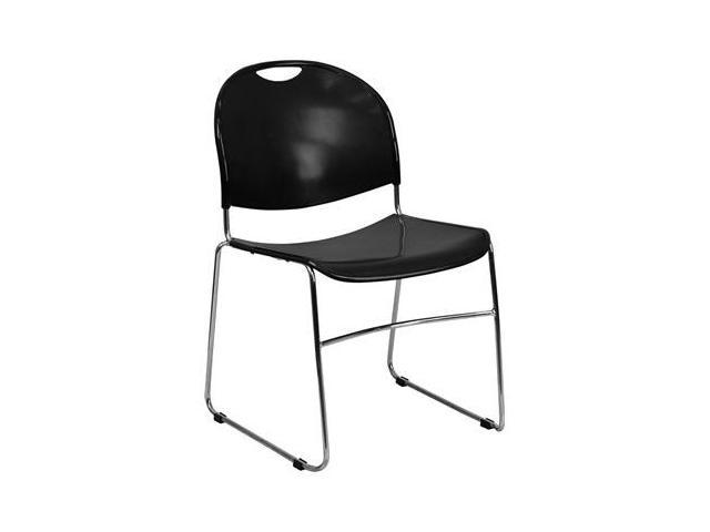 Flash Furniture HERCULES Series 880 lb. Capacity Black High Density, Ultra Compact Stack Chair with Chrome Frame