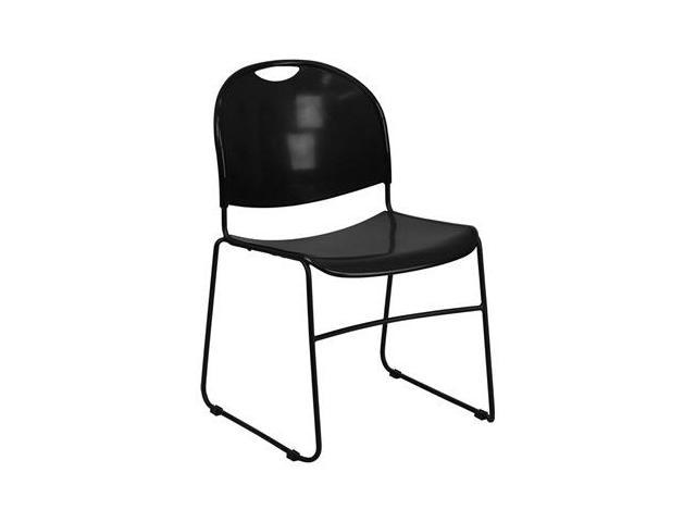 Flash Furniture HERCULES Series 880 lb. Capacity Black High Density, Ultra Compact Stack Chair with Black Frame