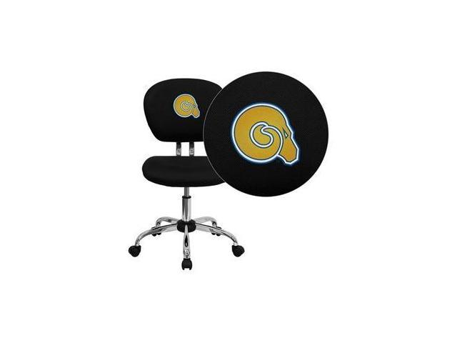 Flash Furniture Albany State University Golden Rams Embroidered Black Mesh Task Chair with Chrome Base [H-2376-F-BK-41002-EMB-GG]