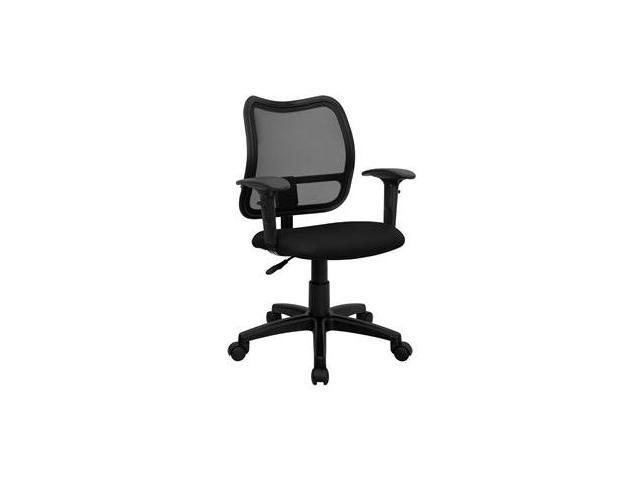 Flash Furniture Mid-Back Mesh Task Chair with Black Fabric Seat and Arms [WL-A277-BK-A-GG]