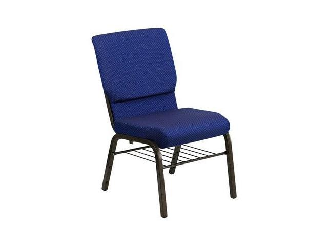 Flash Furniture HERCULES Series 18.5'' Wide Navy Blue Dot Patterned Church Chair with 4.25'' Thick Seat Book Rack - Gold Vein Frame [XU-CH-60096-NVY-DOT-BAS-GG]