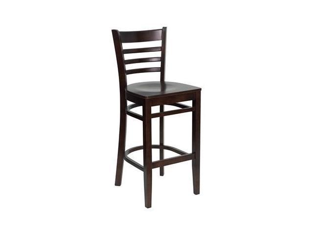 Flash Furniture HERCULES Series Walnut Finished Ladder Back Wooden Restaurant Bar Stool [XU-DGW0005BARLAD-WAL-GG]