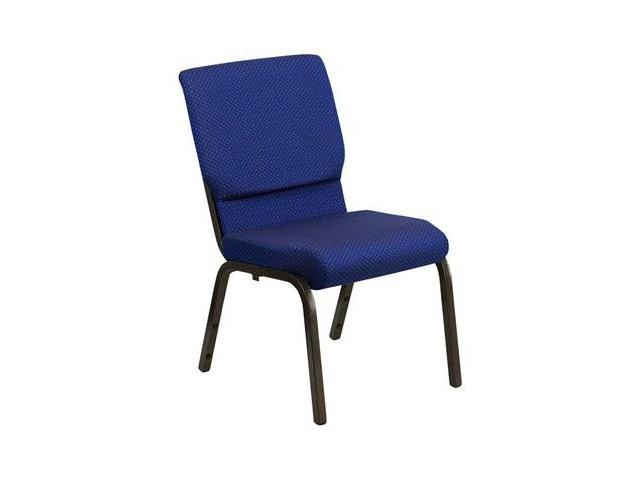 Flash Furniture HERCULES Series 18.5'' Wide Navy Blue Dot Patterned Stacking Church Chair with 4.25'' Thick Seat - Gold Vein Frame [XU-CH-60096-NVY-DOT-GG]