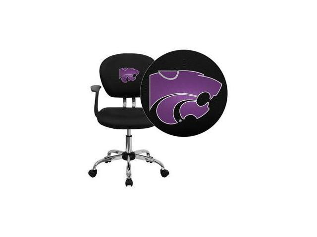 Flash Furniture Kansas State University Wildcats Embroidered Black Mesh Task Chair with Arms and Chrome Base [H-2376-F-BK-ARMS-45013-EMB-GG]