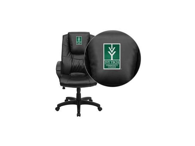 Flash Furniture Ivy Tech Community College of Indiana Embroidered Black Leather Executive Office Chair [GO-5301BSPEC-BK-LEA-41038-EMB-GG]