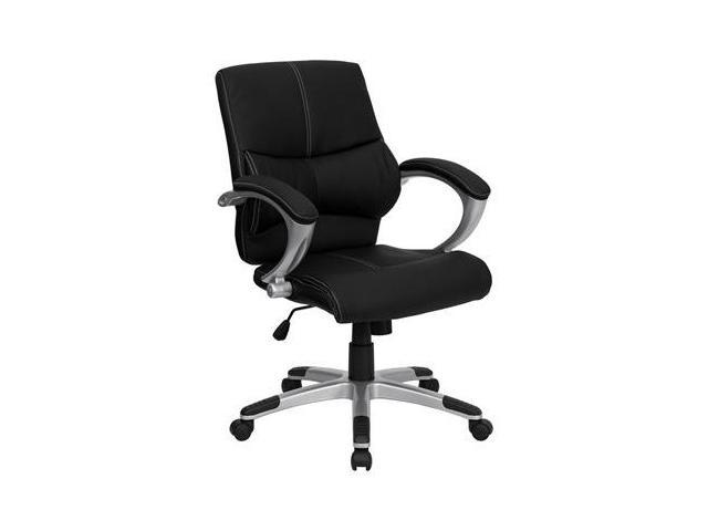 Flash Furniture Mid-Back Black Leather Contemporary Manager's Office Chair [H-9637L-2-MID-GG]