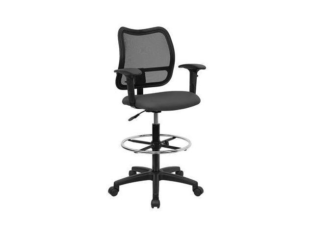 Flash Furniture Mid-Back Mesh Drafting Stool with Gray Fabric Seat and Arms [WL-A277-GY-AD-GG]