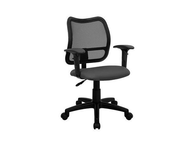 Flash Furniture Mid-Back Mesh Task Chair with Gray Fabric Seat and Arms [WL-A277-GY-A-GG]
