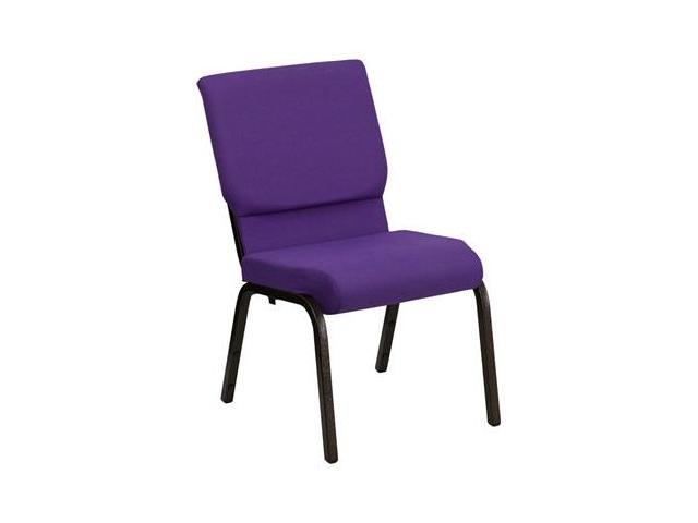 Flash Furniture XU-CH-60096-PU-GG HERCULES Series 18.5'' Wide Purple Stacking Church Chair with 4.25'' Thick Seat - Gold Vein Frame