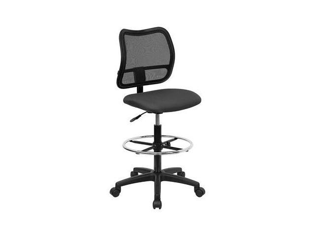 Flash Furniture Mid-Back Mesh Drafting Stool with Gray Fabric Seat [WL-A277-GY-D-GG]
