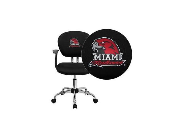 Flash Furniture Miami University of Ohio RedHawks Embroidered Black Mesh Task Chair with Arms and Chrome Base [H-2376-F-BK-ARMS-45016-EMB-GG]
