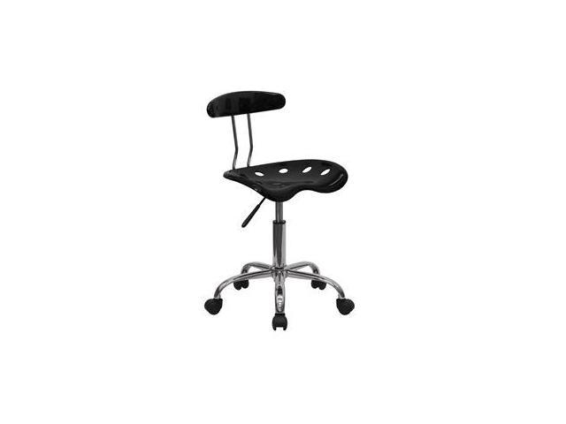 Flash Furniture Vibrant Black and Chrome Computer Task Chair with Tractor Seat [LF-214-BLK-GG]