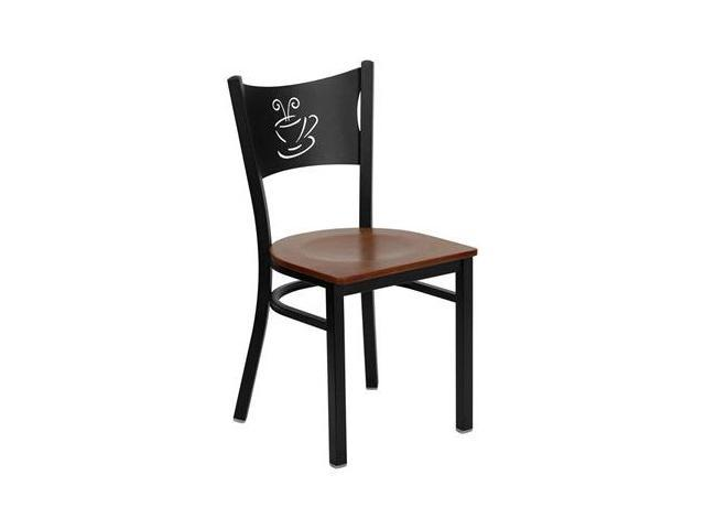 Flash Furniture HERCULES Series Black Coffee Back Metal Restaurant Chair with Cherry Wood Seat [XU-DG-60099-COF-CHYW-GG]