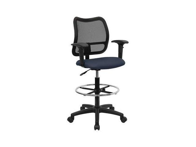 Flash Furniture Mid-Back Mesh Drafting Stool with Navy Blue Fabric Seat and Arms [WL-A277-NVY-AD-GG]