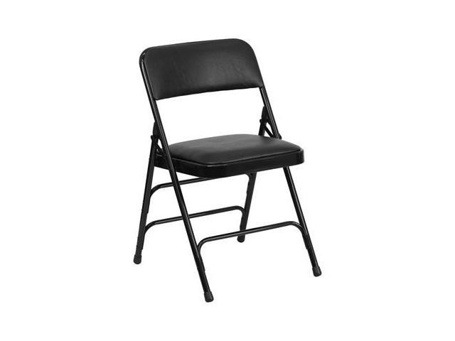 Flash Furniture HERCULES Series Curved Triple Braced & Quad Hinged Black Vinyl Upholstered Metal Folding Chair [HA-MC309AV-BK-GG] - OEM