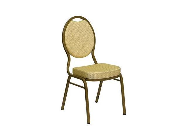Flash Furniture HERCULES Series Teardrop Back Stacking Banquet Chair with Beige Patterned Fabric and 2.5'' Thick Seat - Gold Frame [FD-C04-ALLGOLD-2811-GG]