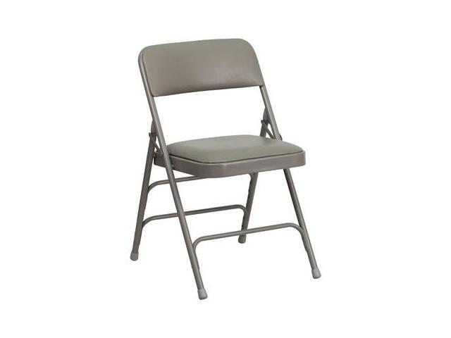 Flash Furniture HERCULES Series Curved Triple Braced & Quad Hinged Gray Vinyl Upholstered Metal Folding Chair [HA-MC309AV-GY-GG]
