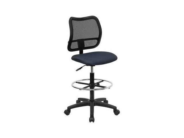 Flash Furniture Mid-Back Mesh Drafting Stool with Navy Blue Fabric Seat [WL-A277-NVY-D-GG]