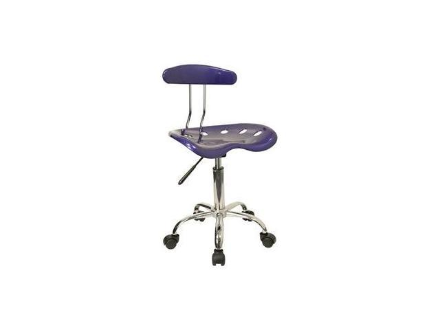 Flash Furniture Vibrant Deep Blue and Chrome Computer Task Chair with Tractor Seat [LF-214-DEEPBLUE-GG]