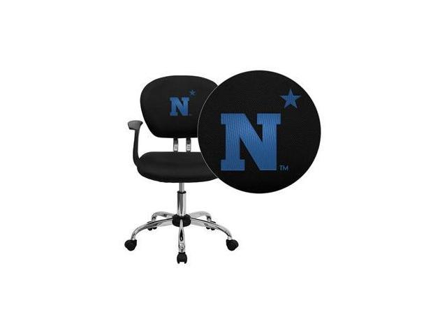 Flash Furniture United States Naval Academy Goats Embroidered Black Mesh Task Chair with Arms and Chrome Base [H-2376-F-BK-ARMS-45019-EMB-GG]