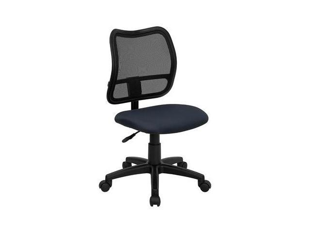 Flash Furniture Mid-Back Mesh Task Chair with Navy Blue Fabric Seat [WL-A277-NVY-GG]