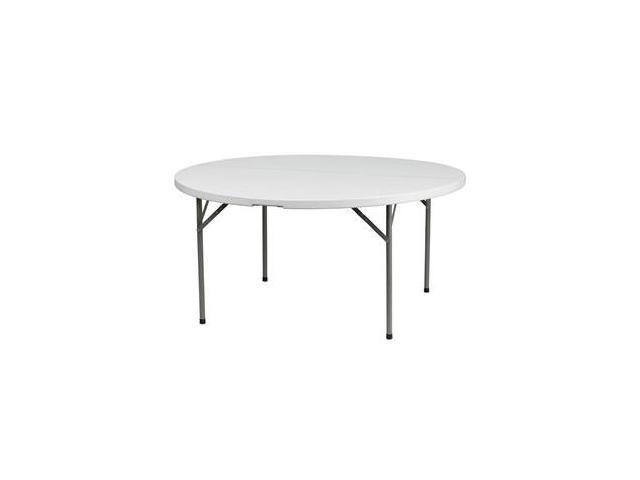 Flash Furniture 60'' Round Granite White Plastic Folding Table [DAD-YCZ-154-GW-GG]