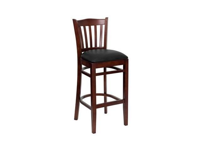Flash Furniture HERCULES Series Mahogany Finished Vertical Slat Back Wooden Restaurant Bar Stool with Black Vinyl Seat [XU-DGW0008BARVRT-MAH-BLKV-GG]