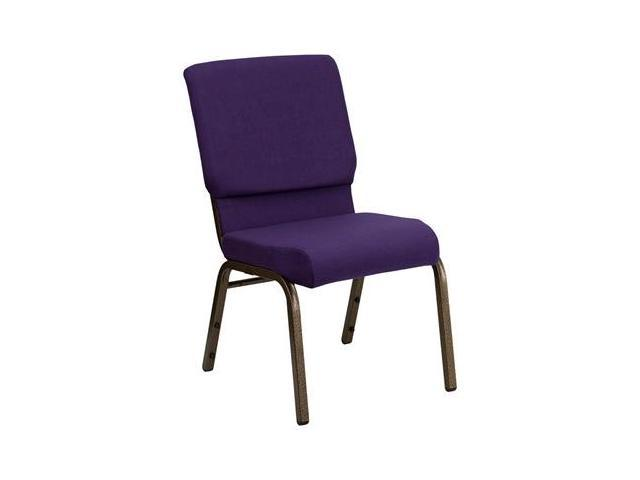Flash Furniture HERCULES Series 18.5'' Wide Royal Purple Stacking Church Chair with 4.25'' Thick Seat - Gold Vein Frame [FD-CH02185-GV-ROY-GG]