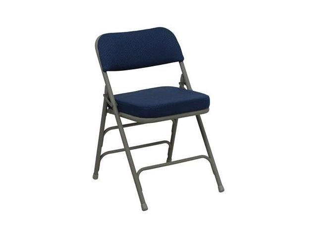 Flash Furniture HERCULES Series Premium Curved Triple Braced & Quad Hinged Navy Fabric Upholstered Metal Folding Chair [HA-MC320AF-NVY-GG]