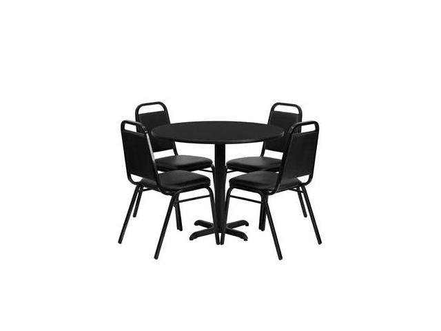 Flash Furniture 36'' Round Black Laminate Table Set with 4 Black Trapezoidal Back Banquet Chairs [HDBF1001-GG]
