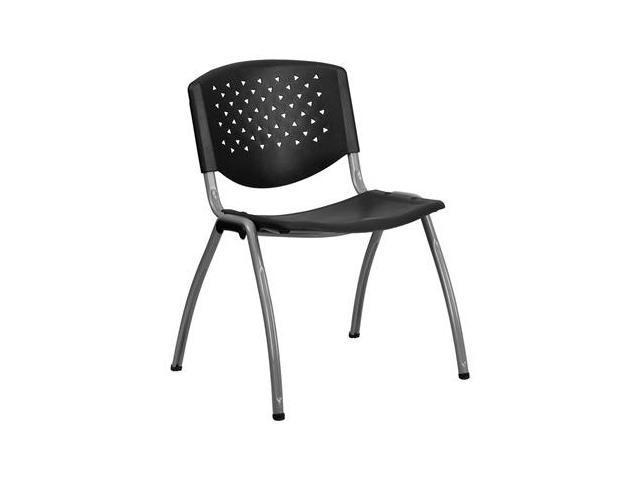 Flash Furniture HERCULES Series 880 lb. Capacity Black Polypropylene Stack Chair with Titanium Frame Finish