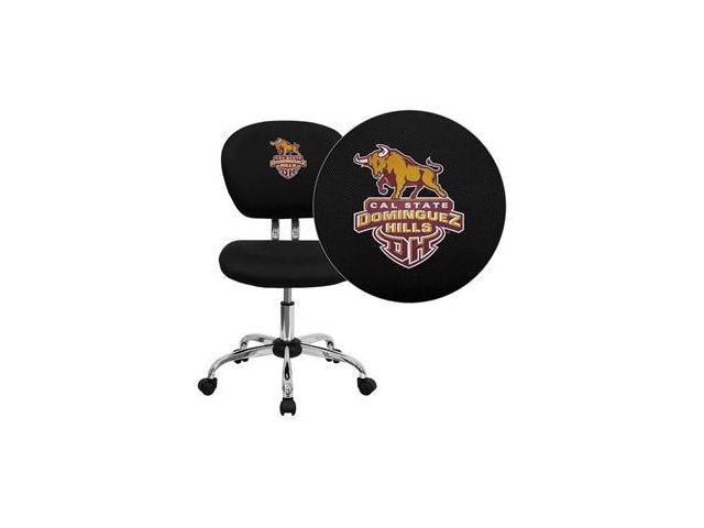 Flash Furniture California State University - Dominguez Hills Toros Embroidered Black Mesh Task Chair with Arms and Chrome Base [H-2376-F-BK-41015-EMB-GG]