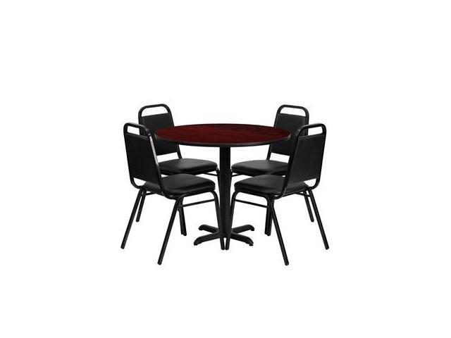 Flash Furniture 36'' Round Mahogany Laminate Table Set with 4 Black Trapezoidal Back Banquet Chairs [HDBF1002-GG]