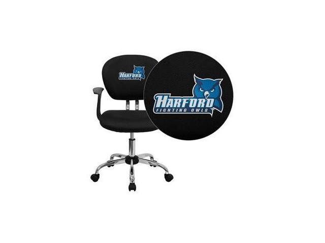Flash Furniture Harford Community College Fighting Owls Embroidered Black Mesh Task Chair with Arms and Chrome Base [H-2376-F-BK-ARMS-41037-EMB-GG]