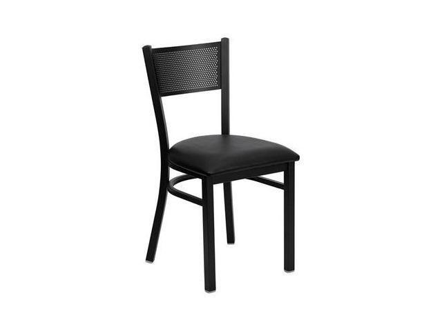 Flash Furniture HERCULES Series Black Grid Back Metal Restaurant Chair with Black Vinyl Seat [XU-DG-60115-GRD-BLKV-GG]