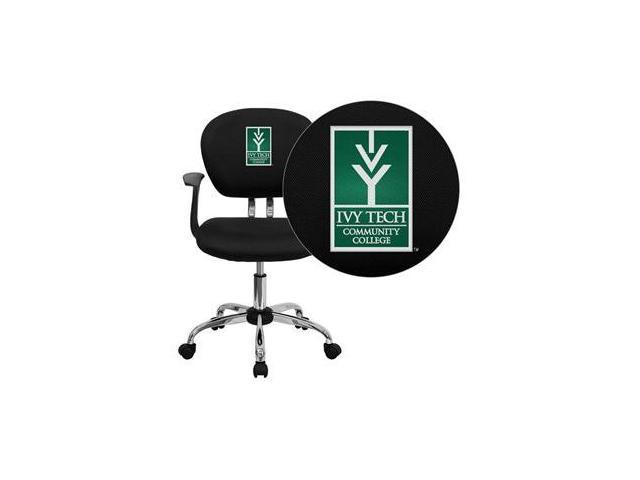 Flash Furniture Ivy Tech Community College of Indiana Embroidered Black Mesh Task Chair with Arms and Chrome Base [H-2376-F-BK-ARMS-41038-EMB-GG] - OEM