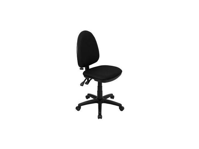 Flash Furniture Mid-Back Black Fabric Multi-Functional Task Chair with Adjustable Lumbar Support [WL-A654MG-BK-GG]