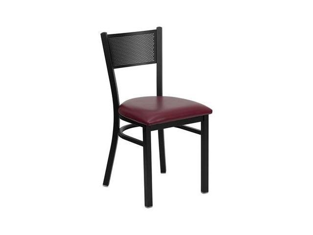 Flash Furniture HERCULES Series Black Grid Back Metal Restaurant Chair with Burgundy Vinyl Seat [XU-DG-60115-GRD-BURV-GG]