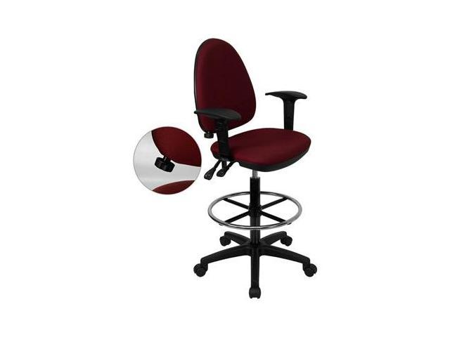Flash Furniture Mid-Back Burgundy Fabric Multi-Functional Drafting Stool with Arms and Adjustable Lumbar Support [WL-A654MG-BY-AD-GG]