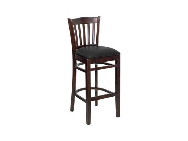 Flash Furniture HERCULES Series Walnut Finished Vertical Slat Back Wooden Restaurant Bar Stool with Black Vinyl Seat [XU-DGW0008BARVRT-WAL-BLKV-GG]
