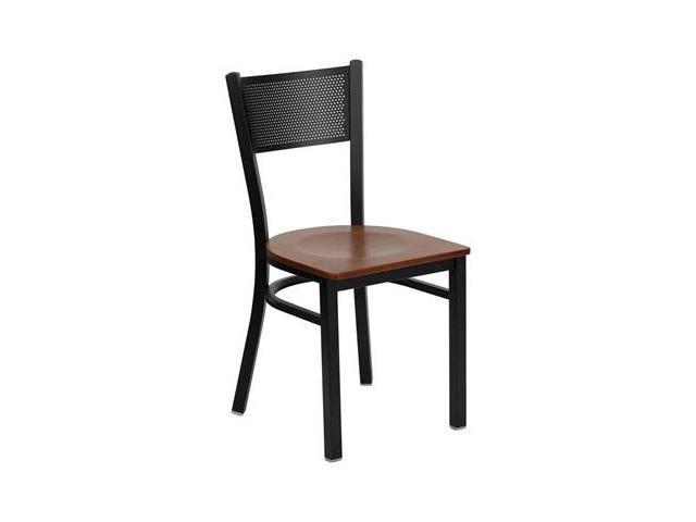 Flash Furniture HERCULES Series Black Grid Back Metal Restaurant Chair with Cherry Wood Seat [XU-DG-60115-GRD-CHYW-GG]