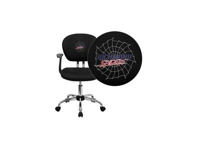 Flash Furniture Richmond Spiders Embroidered Black Mesh Task Chair with Arms and Chrome Base [H-2376-F-BK-ARMS-45025-EMB-GG]