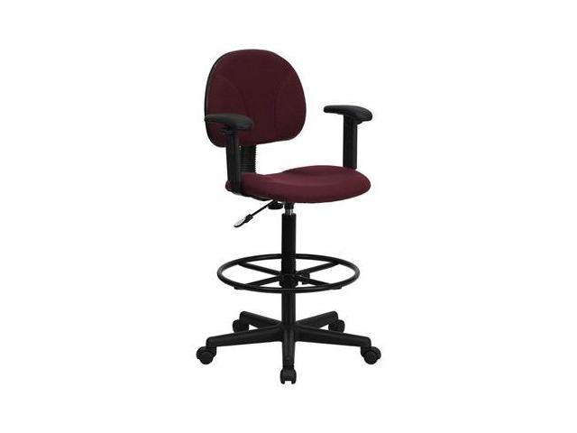 Flash Furniture Burgundy Fabric Multi-Functional Ergonomic Drafting Stool with Arms (Adjustable Range 26''-30.5''H or 22.5''-27''H) [BT-659-BY-ARMS-GG]