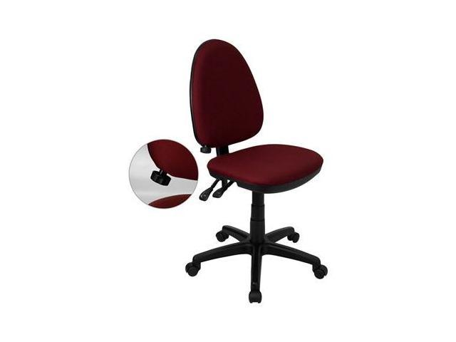 Flash Furniture Mid-Back Burgundy Fabric Multi-Functional Task Chair with Adjustable Lumbar Support [WL-A654MG-BY-GG]