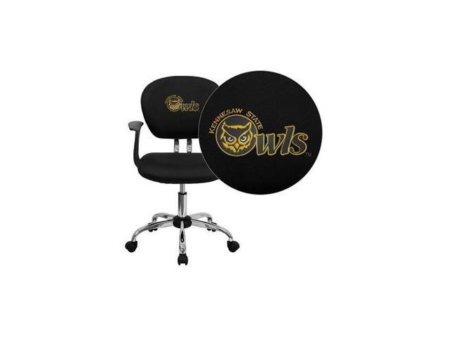 Flash Furniture Kennesaw State University Owls Embroidered Black Mesh Task Chair with Arms and Chrome Base [H-2376-F-BK-ARMS-41041-EMB-GG]